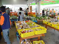 旬の野菜や果物をお求めの、たくさんのお客様でにぎわっています。